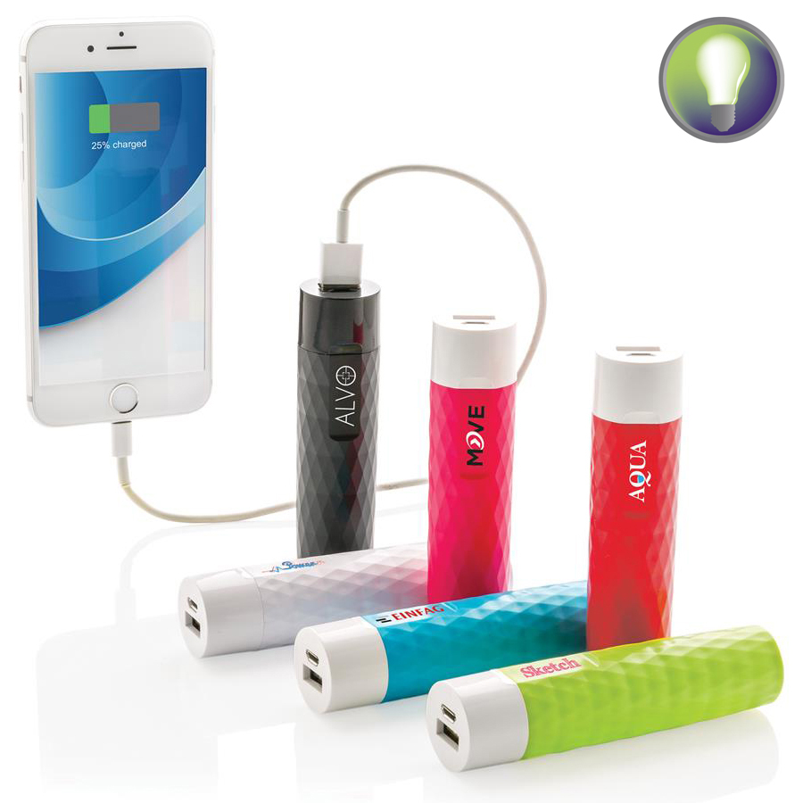 Bedrukte powerbank of oplaadsnoer