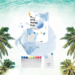 Platte waterfles met logo en giftbox